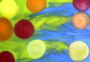 No. 10 View of 'Happy Christmas' Oil on HW A3 Paper by Abstract Artist Karen Robinson NB All images are subject to copyright laws.JPG