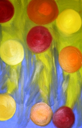 No. 2 View of 'Happy Christmas' Oil on HW A3 Paper by Abstract Artist Karen Robinson NB All images are subject to copyright laws.JPG
