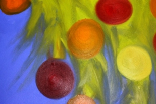No. 3 View of 'Happy Christmas' Oil on HW A3 Paper by Abstract Artist Karen Robinson NB All images are subject to copyright laws.JPG
