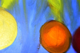No. 4 View of 'Happy Christmas' Oil on HW A3 Paper by Abstract Artist Karen Robinson NB All images are subject to copyright laws.JPG