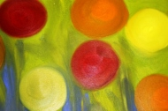 No. 5 View of 'Happy Christmas' Oil on HW A3 Paper by Abstract Artist Karen Robinson NB All images are subject to copyright laws.JPG