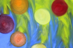 No. 8 View of 'Happy Christmas' Oil on HW A3 Paper by Abstract Artist Karen Robinson NB All images are subject to copyright laws.JPG