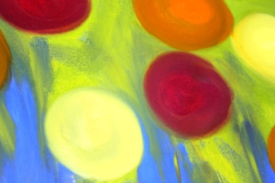 No. 9 View of 'Happy Christmas' Oil on HW A3 Paper by Abstract Artist Karen Robinson NB All images are subject to copyright laws.JPG