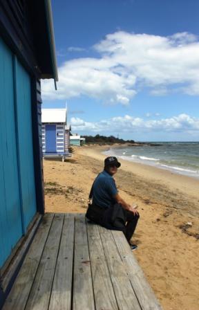 Hubby at Dendy Street Beach - Australia Day Weekend 2015 - Photo taken by Karen Robinson.JPG