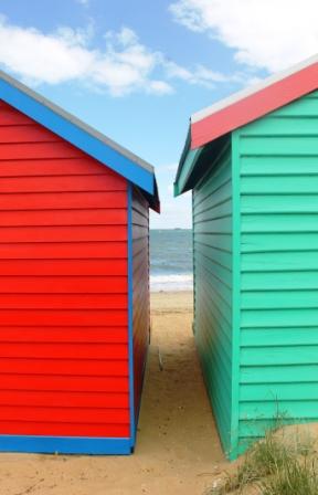 No. 1 Brighton Bathing Boxes at Dendy Street Beach Australia Day Weekend 2015 Photo taken by Karen Robinson.JPG