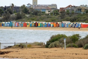 No. 2 Brighton Bathing Boxes at Dendy Street Beach Australia Day Weekend 2015 Photo taken by Karen Robinson.JPG