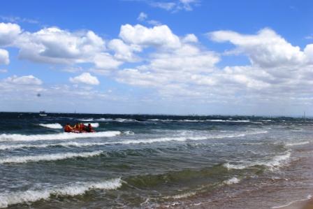 No. 5 Brighton Bathing Boxes at Dendy Street Beach Australia Day Weekend 2015 Photo taken by Karen Robinson .JPG