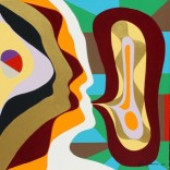 Abstract Painting No. 62A Titled 'Two Women Talking' Acrylic on Canvas 55cmsx55cmsx3cms by Abstract Artist Karen Robinson Aug 2015 Images Copyright.JPG