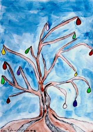 No. 1 of 3 ArtTherapy Group Session 1 'Tree of Treasured Memories' created by Abstract Artist Karen Robinson Feb 2015 NB All images are protected by copyright..JPG