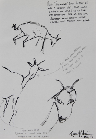 "View No. 3 ""Goat"" - Karen Robinson's ink drawings created in Marco Luccio's arts session on creating powerful & expressive drawings Feb 2015.JPG NB: All images are protected by copyright laws"