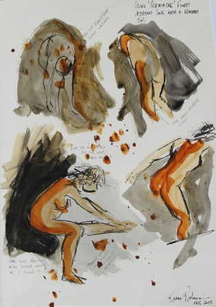 "View No. 5 ""Nude"" - Karen Robinson's ink drawings created in Marco Luccio's arts session on creating powerful & expressive drawings Feb 2015.JPG NB: All images are protected by copyright laws"