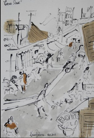 "View No. 9 ""Crowds"" - Karen Robinson's ink drawings created in Marco Luccio's arts session on creating powerful & expressive drawings Feb 2015.JPG NB: All images are protected by copyright laws"