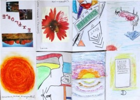No. 10 Art Therapy Group Session 5- Exercise 'Group Booklet Making' Art Work created by all participants. This is a view of the 'Group Booklet' unfolded. Each image was made by a participant with the thought of the owner in mind. In this case the booklet has been made for me and each section is each person's individual contribution to my booklet. March 2015 NB All images are subject to copyright.JPG
