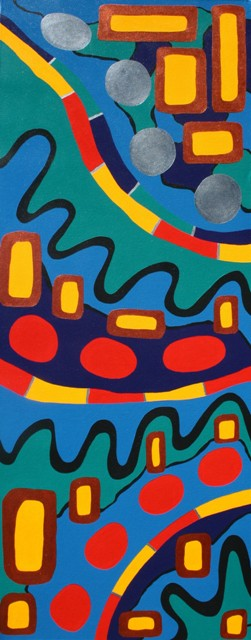 Painting No. 26A - Title 'Green Peace and Human Nature' Sept-Oct 2008 Acrylic on Canvas by Abstract Artist Karen Robinson NB All images are protected by copyright laws.JPG