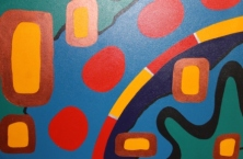 View 2 of 4 Painting 26 Title 'Green Peace & Human Nature' Acrylic on Canvas Sept-Oct 2008 by Karen Robinson Abstract Artist NB All images are copyright protected.JPG