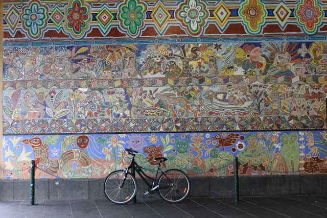 MIRKA MORA'S FLINDERS ST STATION MURAL – with bike Melbourne Australia Photographed by Karen Robinson 18th April 2015 NB All images are subject to copyright laws
