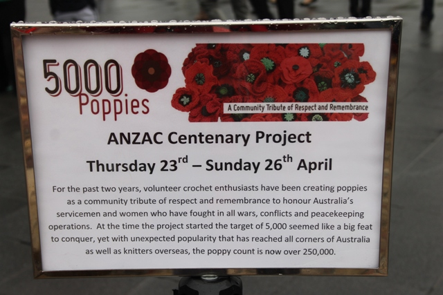 Photo No. 2 of 3 – 5000 Poppies Project Signage Federation Square, Melbourne, Australia photo taken by Karen Robinson - Abstract Artist 25.4.2015.JPG