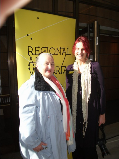 2 of 21 Regional Arts Victoria's Annual Members Celebration and AGM at the State Library of Victoria, Latrobe Street, Melbourne 30.05.2015 - Karen Robinson & Amanda Gibson - RAV Regional Facilitator.JPG