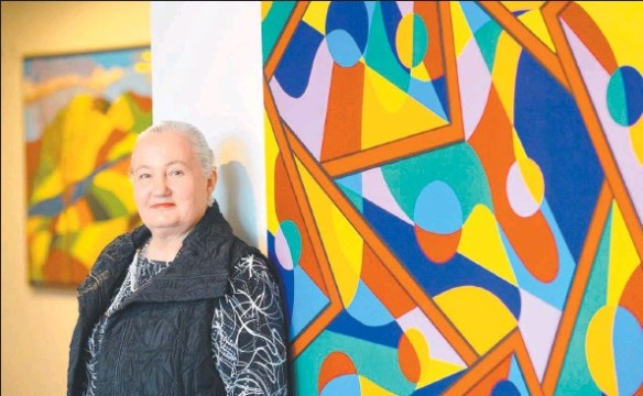 Karen Robinson at her Solo Exhibition titled ...When words are hard to find - 6th May 2015 at Gee Lee-Wik Doleen Gallery - Craigieburn. Photo graphed by Angie Basdekis for Hume Leader Newspaper getimage.aspx.jpg