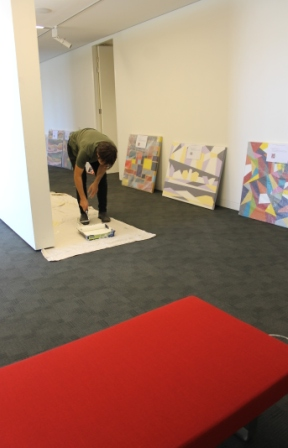 No. 12 - 'When words are hard to find' Solo Exhibition of Karen Robinson 6.5.15 Curator Tobias preparing Gee Lee-Wik Doleen Gallery for Exhibition.JPG