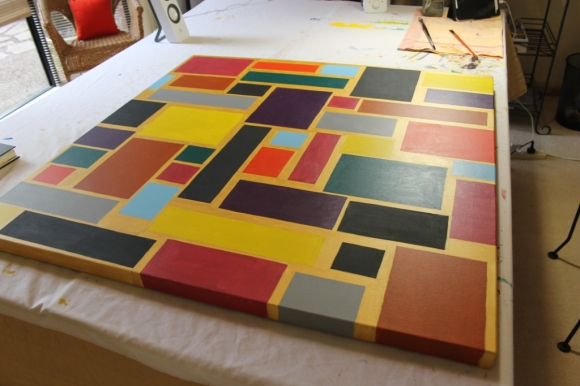 """No. 20 of 44 - Painting process for Painting No. 60 – Title """"Brick Wall"""" May 2015 – by Abstract Artist Karen Robinson NB All images are protected by copyright laws.JPG"""