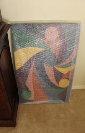No. 5 - 'When words are hard to find' Solo Exhibition of Karen Robinson 6.5.15 Art Work wrapped with Bubble Wrap ready for transportation to Exhibition.JPG