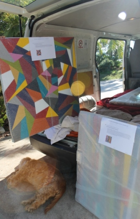 No. 7 - 'When words are hard to find' Solo Exhibition of Karen Robinson 6.5.15 Art Work being packed into Van.JPG