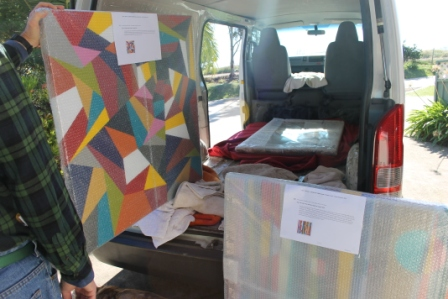 No. 8 - 'When words are hard to find' Solo Exhibition of Karen Robinson 6.5.15 Art Work being packed into Van.JPG
