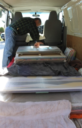No. 9 - 'When words are hard to find' Solo Exhibition of Karen Robinson 6.5.15 Art Work being packed into Van.JPG