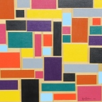 """Painting No. 60 – Title """"Brick Wall"""" Acrylic on Canvas 100cms Length x 100cms Wide x 3 cms Deep by Abstract Artist Karen Robinson - May 2015 NB All images are protected by copyright laws (2).JPG"""