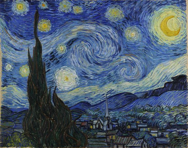 Dutch post-impressionist Vincent van Gogh's 'Starry Night' Painting 1889 - Oil on Canvas. It depicts the view from the east-facing window of his asylum room at Saint-Remy-de-Provence, just before sunrise, with the addition of an idealized village. It is regarded as amoung Van Gogh's finest works (Wikipedia 2015)