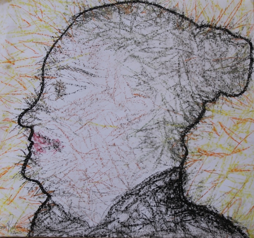 No. 2 of 3 Art Therapy Session One - July 2015 'Self Portrait' by Abstract Artist Karen Robinson.JPG