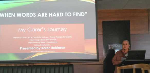1 of 14 Karen Robinson at Mind Australia's 2016 Conference at the MCG presenting on 'My Carer's Journey - When words are hard to find' 21.6.2016