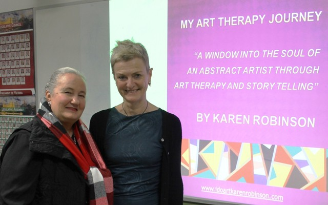Karen Robinson & Sheena Mathieson at Karen's Artist Talk with 'Make a Day in Hume' at Banksia Gardens Community Services Broadmeadows on 19.8.2015 NB All images are copyright protected.JPG