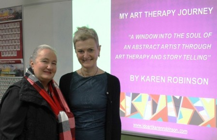 Karen Robinson & Sheena Mathieson at Karen's Artist Talk with 'Make a Day in Hume' at Banksia Gardens Community Services Broadmeadows on 19.8.2015 NB All images are copyright protected - Copy.JPG