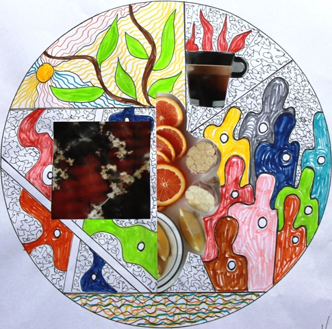 No. 1 of 7 Art Therapy Group July 2015 'What is important for me today!' Mandala Exercise - Artwork by Karen Robinson Abstract Artist NB All images are protected by copyright laws.JPG