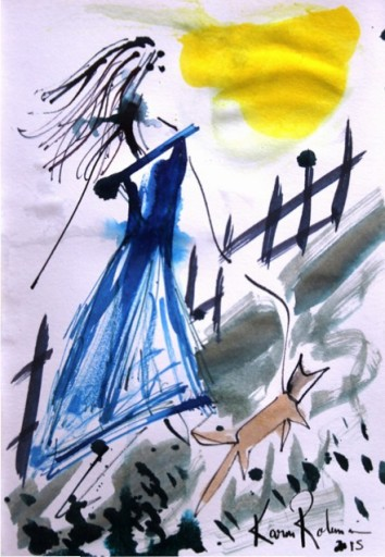 No. 2 of 4 Creative Writing Group Session 'Betty Boots' Ink on Paper by Karen Robinson Abstract Artist 1.8.15 NB All images are protected by copyright laws.JPG