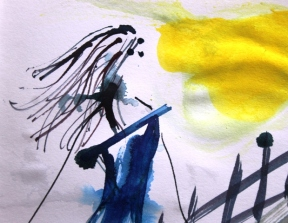 No. 3 of 4 Creative Writing Group Session 'Betty Boots' Ink on Paper by Karen Robinson Abstract Artist 1.8.15 NB All images are protected by copyright laws .JPG
