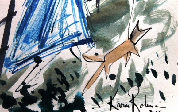 No. 4 of 4 Creative Writing Group Session 'Betty Boots' Ink on Paper by Karen Robinson Abstract Artist 1.8.15 NB All images are protected by copyright laws .JPG