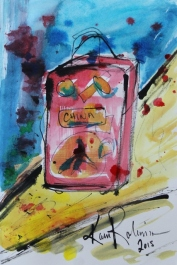 2 of 2 Creative Writing Session Sept 2015 'I am packed to go!' Ink on Paper by Karen Robinson - Abstract Artist NB All images are protected by copyright laws.JPG