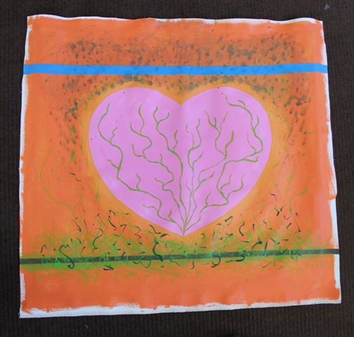 3 of 11 Art Therapy Session 31.8.2015 Karen Robinson - Abstract Artist painting on square canvas with acrylic paint being second stage in painting production for group project NB: All images are protected by copyright laws.JPG