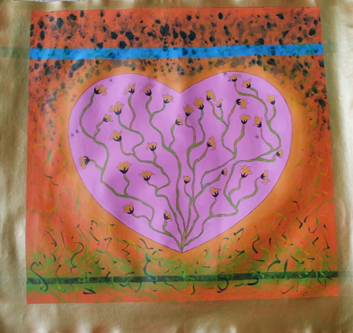 4 of 11 Art Therapy Session 31.8.2015 Karen Robinson - Abstract Artist painting on square canvas with acrylic paint being second stage in painting production for group project NB: All images are protected by copyright laws.JPG