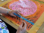 No. 4 of 17 Art Therapy Sessions 14th & 17th Sept 2015 Karen Robinson-Abstract Artist working on own individual art work-all images copyright protected.JPG