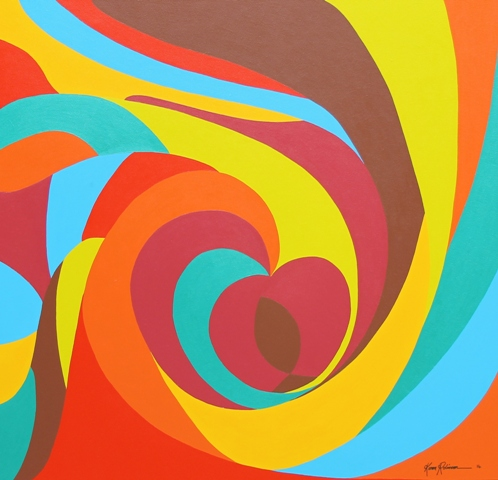 Abstract Painting No. 56 Titled 'A Celebration of Womanhood' Acrylic on Canvas 97cms Length x 102cms Wide x 3cms Deep by Karen Robinson Abstract Artist - August 2014.JPG