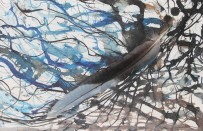 No. 2 of 2 Creative Writing Group - Artwork Titled 'Beautiful Other' Feather resting on - Schmincke Ink on A4 Paper by Karen Robinson - Abstract Artist NB All images are copyright protected Oct 2015.JPG