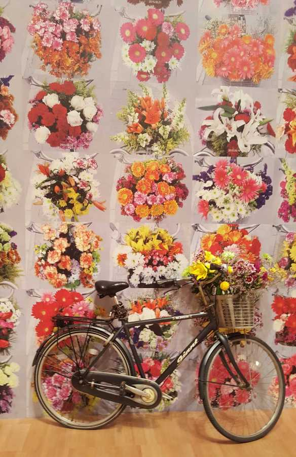 1-1 Ai Weiwei's bicycle basket with flowers exhibited at the National Gallery of Victoria photo taken by Karen Robinson 23.4.16