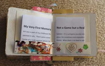 No.65 Creative Writing Stories inserted into ink painted insert pockets of the 'Altered Book' by Karen Robinson created during Art Therapy Sessions 2016 NB All images are protected by copyright