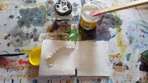 No. 7 Stage two - Painting whole of the stripped back book with Matisse Pearlized Structure Paint - 'Altered Book' by Karen Robinson created during Art Therapy Sessions 2016 NB All images are protected by copyright laws