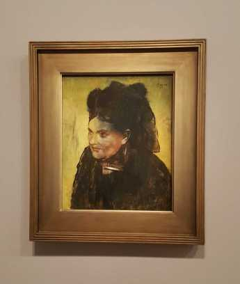 1 of 2 'Portrait of a woman c. 1876-80 oil on canvas 46.3 x 38.2cm - Edgar Degas - National Gallery of Victoria, Melbourne. Felton Bequest, 1937 photographed by Karen Robinson July 2016