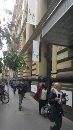 Out front of CAE on Flinders Lane, Melbourne, Australia - Photograph taken by Karen Robinson July 2016 NB All images are protected by copyright laws